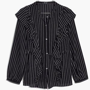 Madewell 100% silk ruffle front blouse striped